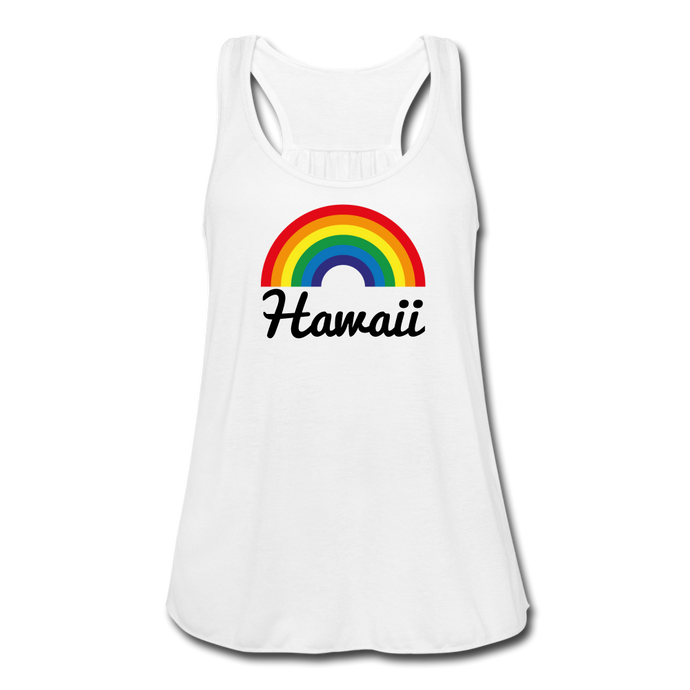 Women's Flowy Rainbow Hawaii Tank Top by Bella - white
