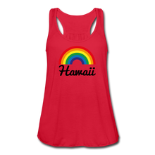 Load image into Gallery viewer, Women's Flowy Rainbow Hawaii Tank Top by Bella - red