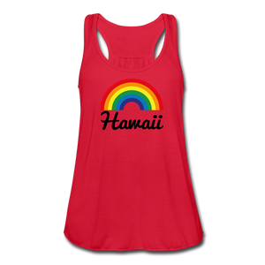 Women's Flowy Rainbow Hawaii Tank Top by Bella - red
