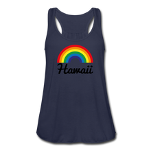 Load image into Gallery viewer, Women's Flowy Rainbow Hawaii Tank Top by Bella - navy