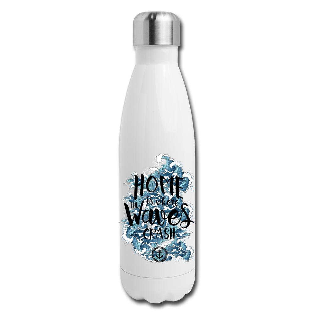 Insulated Stainless Steel Waves Water Bottle - white