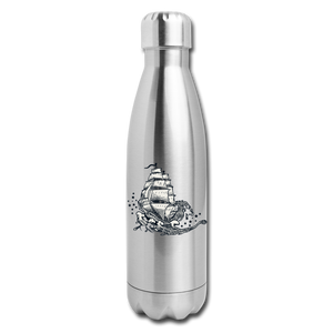 Insulated Stainless Steel Waves Water Bottle - silver