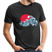 Load image into Gallery viewer, Unisex Great Waves Tri-Blend T-Shirt - heather black