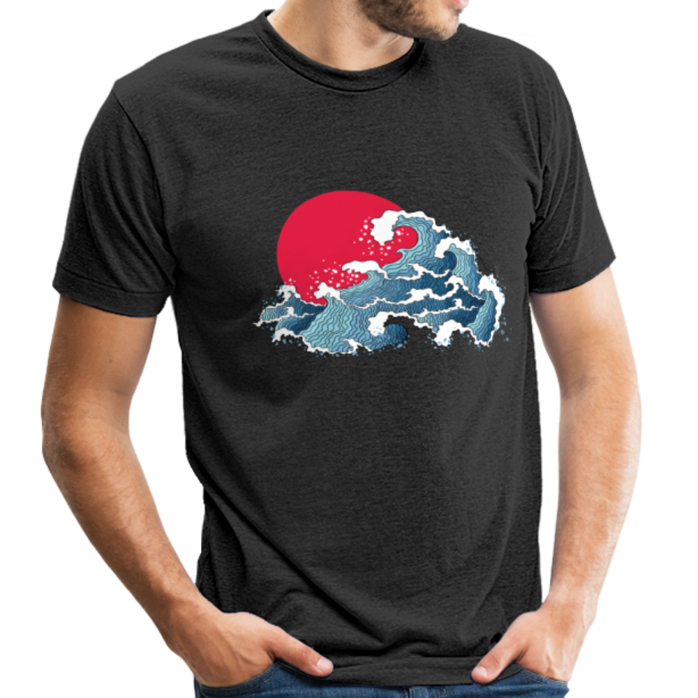 Unisex Great Waves Tri-Blend T-Shirt - heather black