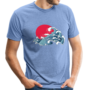 Unisex Great Waves Tri-Blend T-Shirt - heather Blue