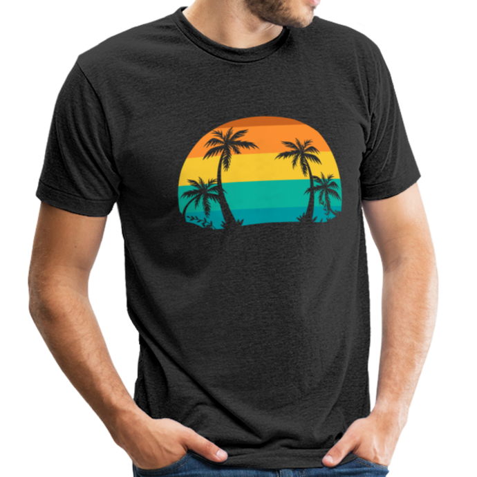 Men's Retro Palm Tri-Blend T-Shirt - heather black