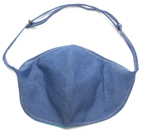 Chambray Reusable Face Masks designs in Denim | Out and About Supply