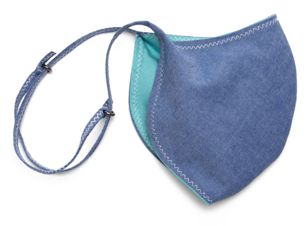 Chambray Reusable Face Masks designs in Denim Slide | Out and About Supply