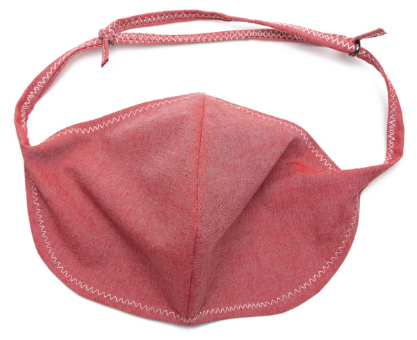 Chambray Reusable Face Masks designs in Red Color | Out and About Supply