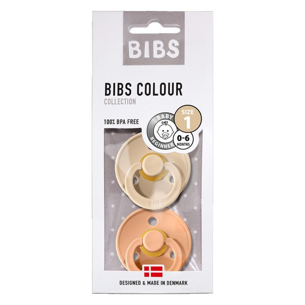BIBS COLOUR Natural Rubber Pacifier - Vanilla/Peach BIBS