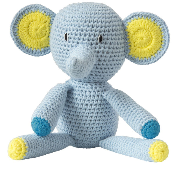 Crochet Elephant Light Blue Organic Cotton Global Affairs