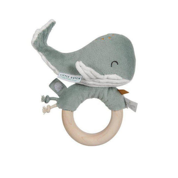 Little Dutch Ring Rattle Whale - Ocean Mint