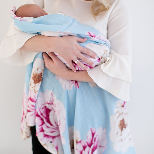 Luxury Gift Set - Miilk Muslin Blue Peonies Print + HotTea Mama Milk's Up/Newborn Wonder