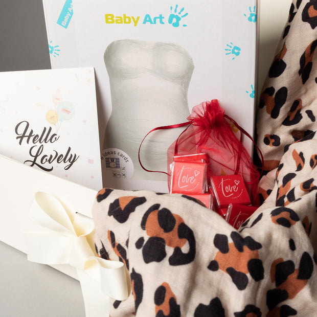 Luxury Gift Set - Miilk Muslin Leopard Print + Baby Art My Lovely Belly