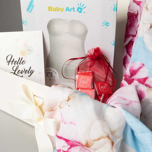 Luxury Gift Set - Miilk Muslin Blue Peonies + Baby Art My Lovely Belly