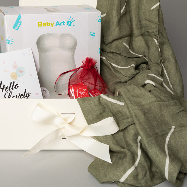 Luxury Gift Set - Miilk Muslin Baby Olive + Baby Art My Lovely Belly
