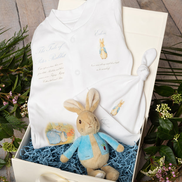 Personalised Peter Rabbit Babygrow + Bean Rattle Gift Set
