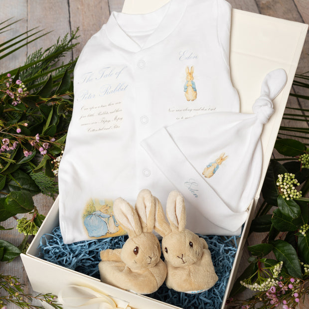 Personalised Peter Rabbit Babygrow + First Booties Gift Set
