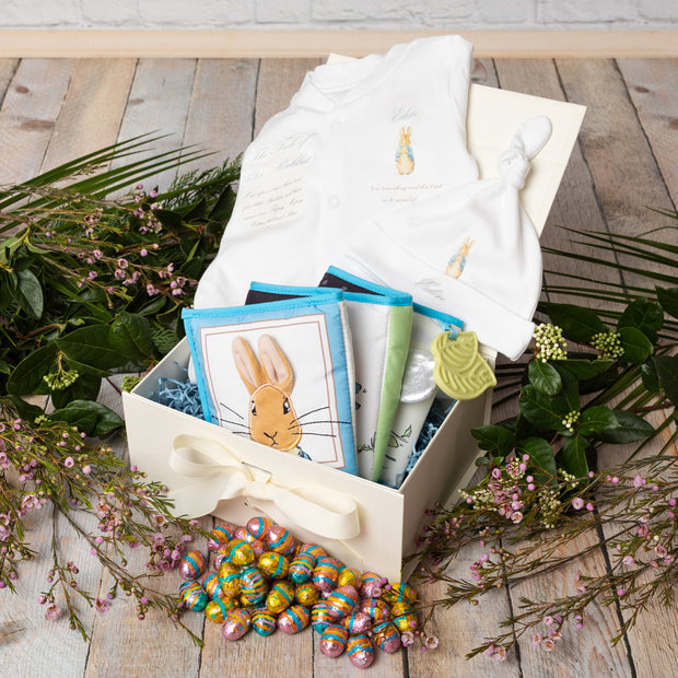 Personalised Peter Rabbit Babygrow + Activity Book Gift Set