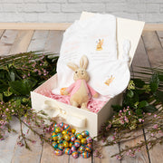 Personalised Flopsy Bunny Babygrow + Bean Rattle Gift Set