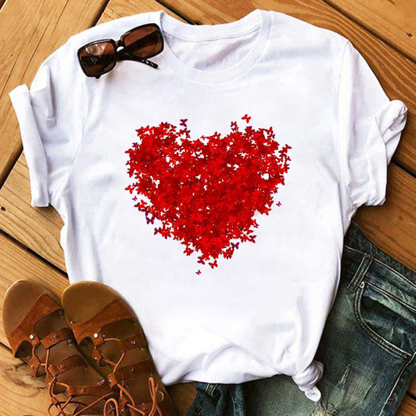 Heart Butterfly Print T-shirt