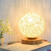 3W USB Moon Table Lamp Dimmable Hand-Knit Lampshade Wood Moon Lamp