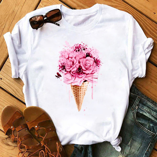 Female T-shirt Romantic Heart Shaped Flowers