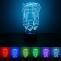 3D Night Light USB Powered, Tooth Shape