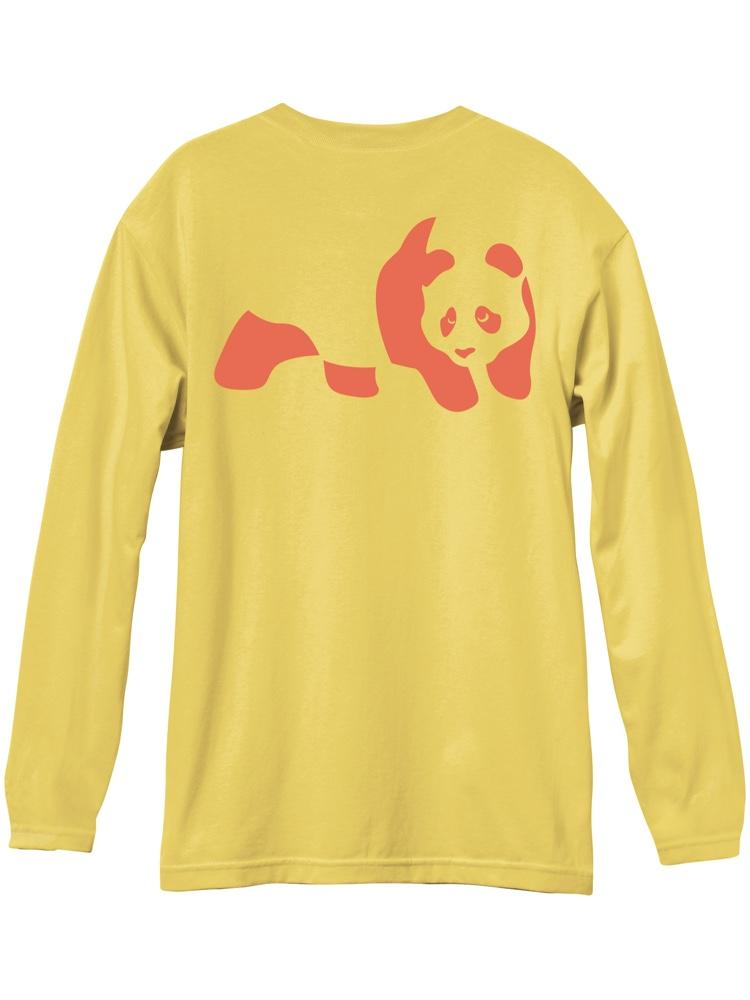 panda flat yellow long sleeve premium tshirt