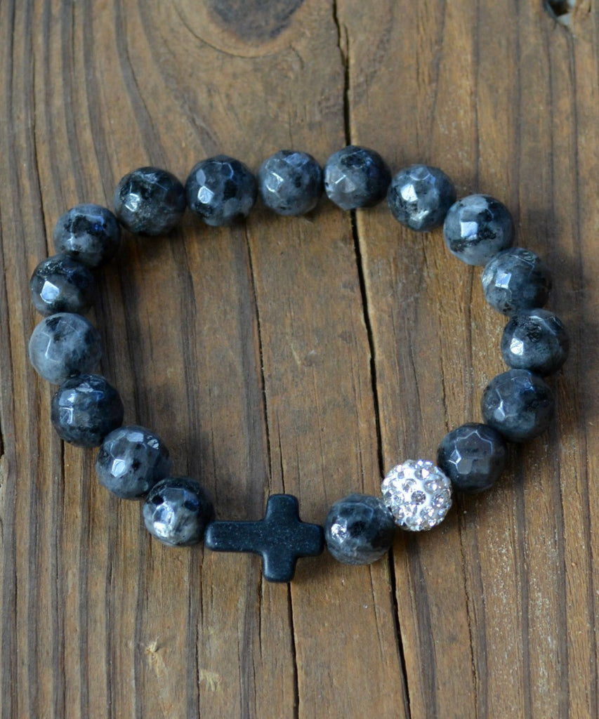 Marble Bead Bracelet - Charcoal