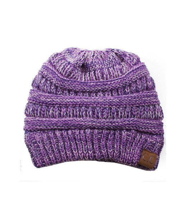 Mixed Thread Beanie - Purple