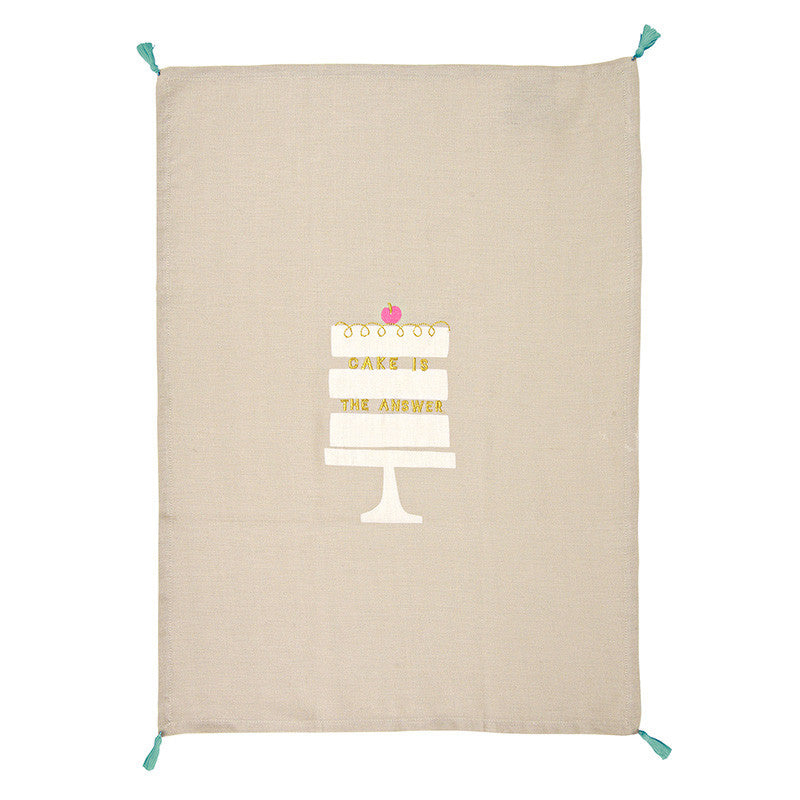 Cake Is The Answer Tea Towel