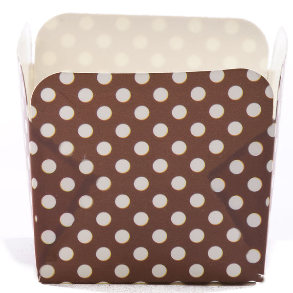 Square Baking Cup :: Brown Dot