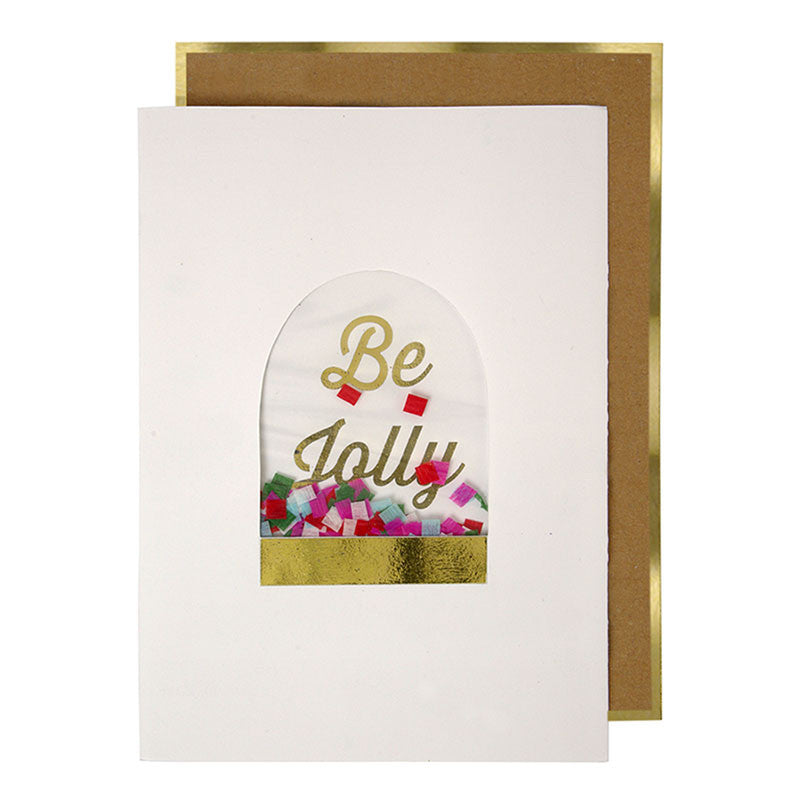 Be Jolly Snowglobe Greeting Card