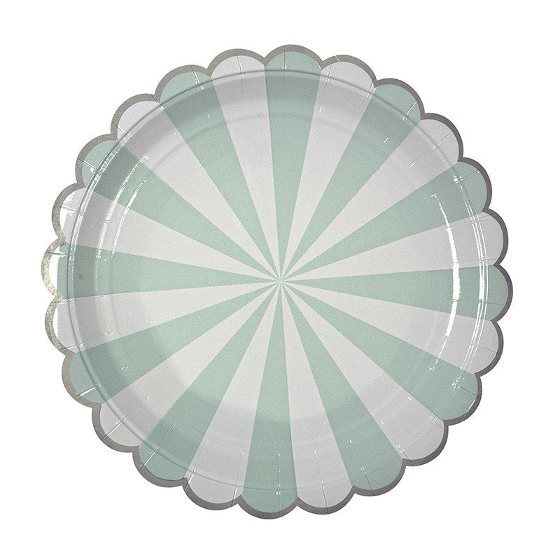 Toot Sweet Aqua Stripe Large Plate