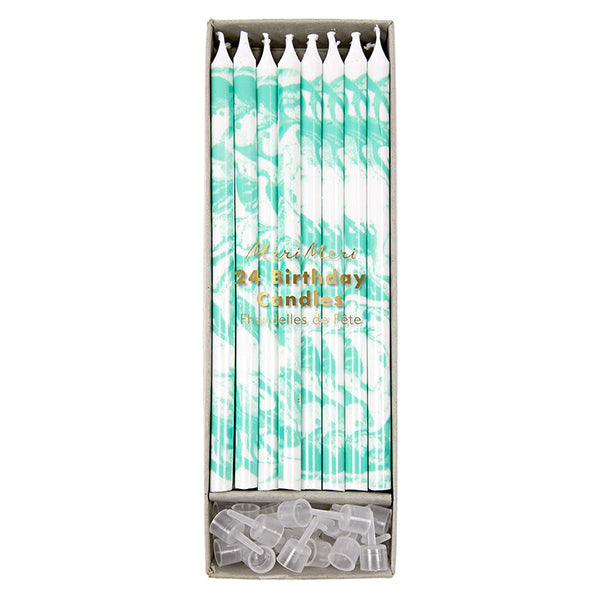 Mint Marbled Birthday Candles