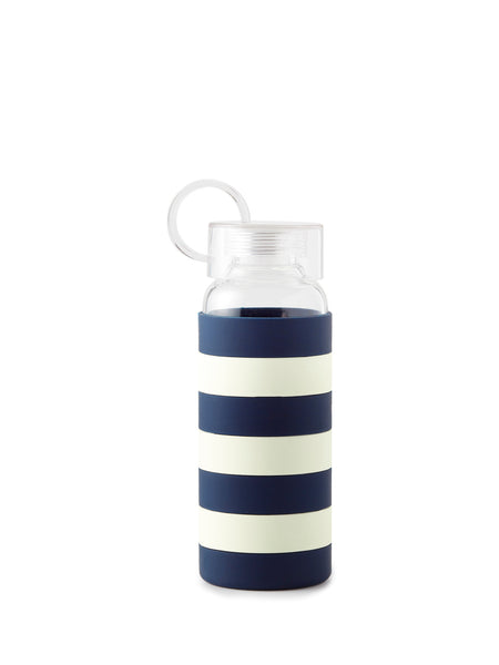 Kate Spade Glass Water Bottle :: Navy Stripe