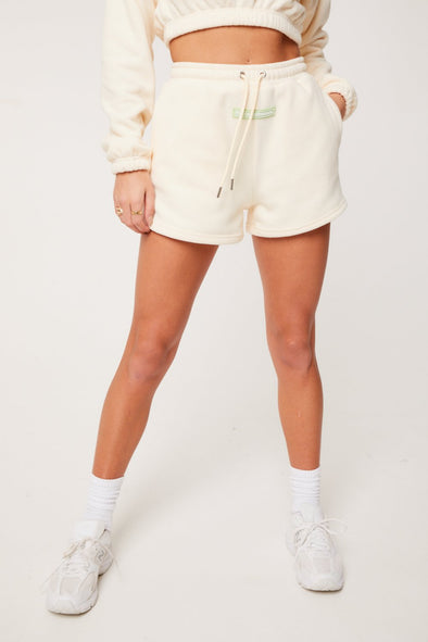 POLAR FLEECE BADGED BOYFRIEND SHORTS