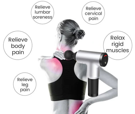 Person - POWERFUL AND QUIET Massage Gun - Black Lowest Price Online-4 In One