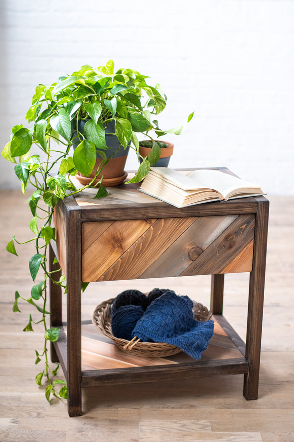 Rustic Chevron Craftsmen End Table - Handmade in USA
