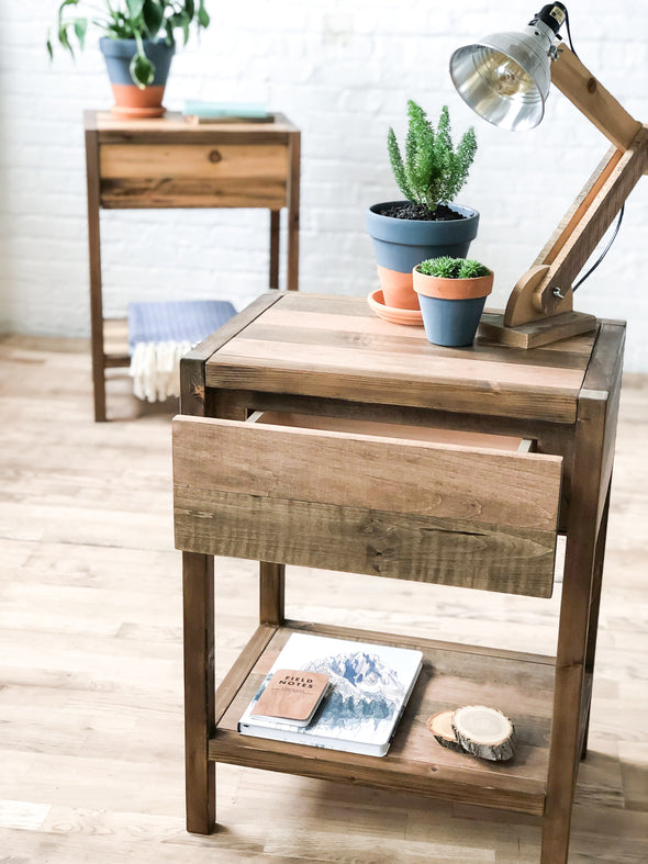 The Craftsmen - Barn Wood Style Bedside Table / End Table - Handmade in USA