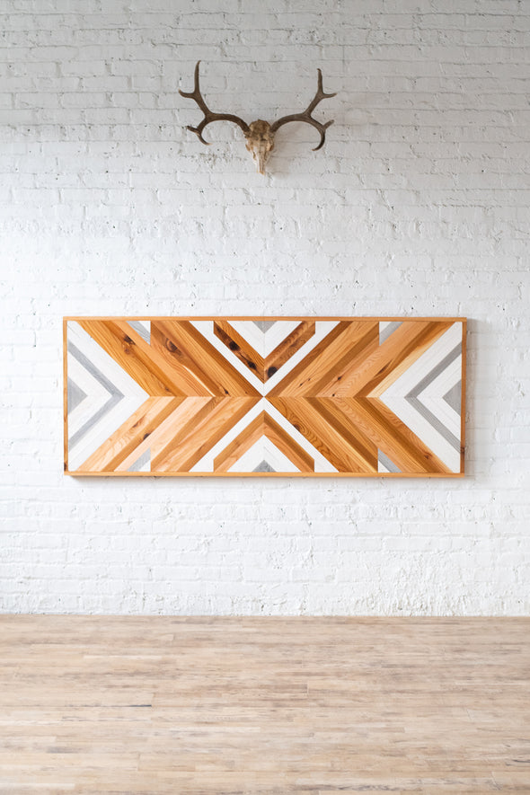 The Tribal - Rustic Natural Chevron Headboard - Organic - Handmade in Chicago USA