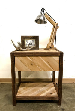 Natural Rustic Chevron Solid Barn Wood Bedside Table / End Table - Handmade In USA