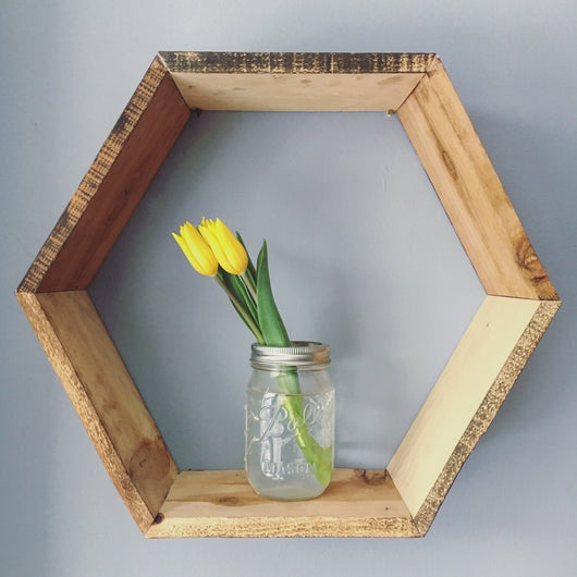 Rustic Barn Wood Hexa Shelf - Set of 3 - Reclaimed Shelving