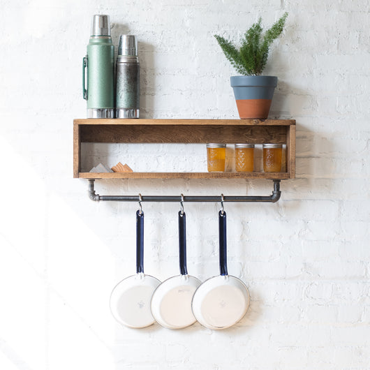 Rustic Shelf w/ Industrial Hanger - Pot Rack - Coat Hanger - Spice Rack - Made In USA