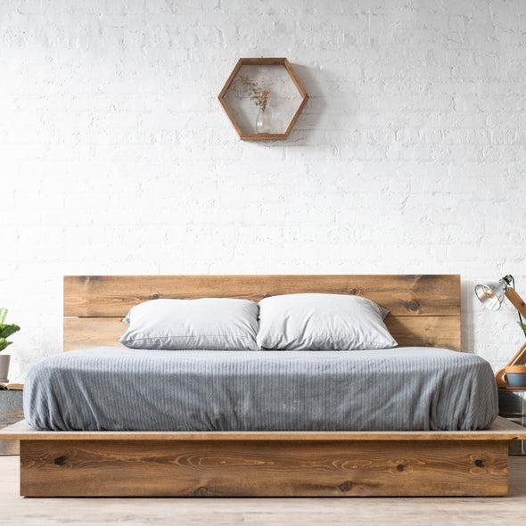 Low Pro - Rustic Modern Platform Bed Frame and Headboard - Loft Style