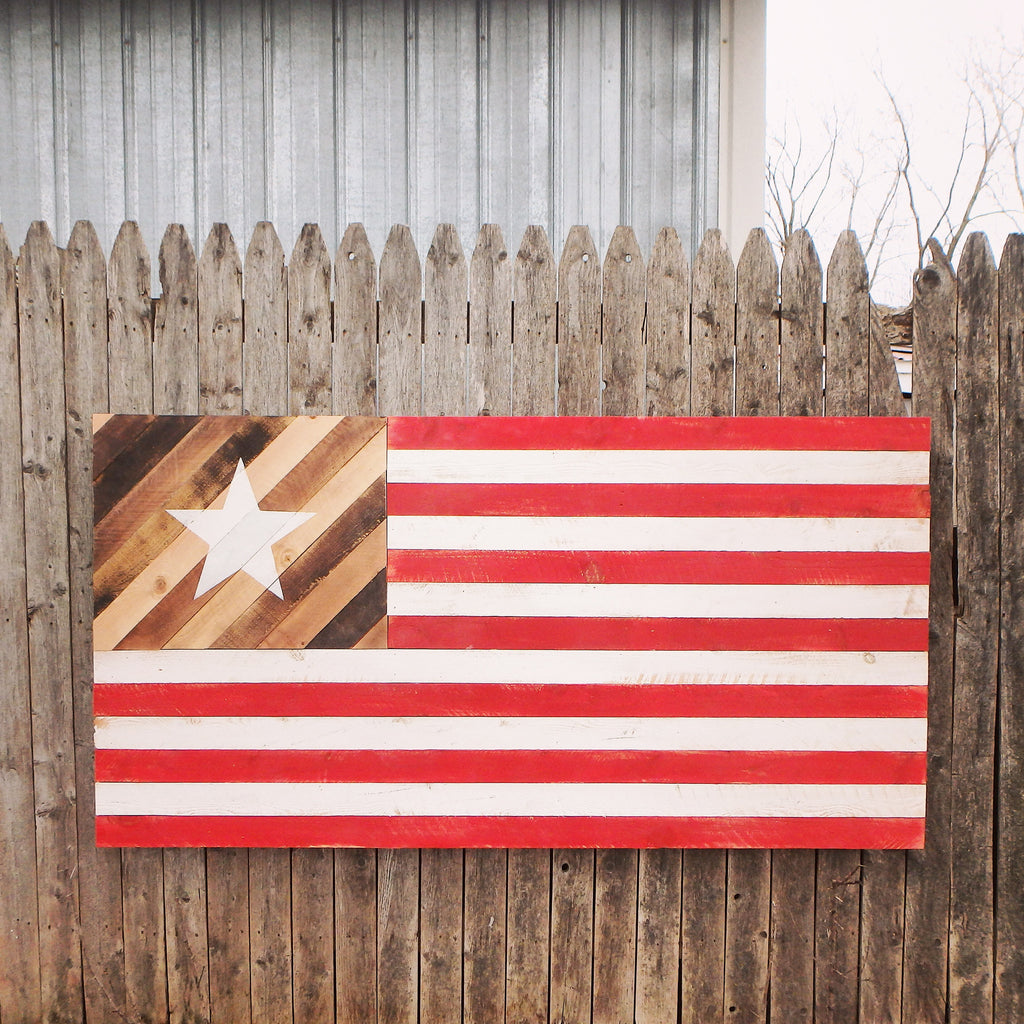 The Native Flag Large Rustic Wood American Flag
