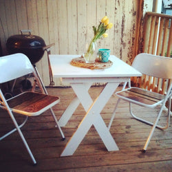 Chair Americana and Table Set - Metal and Barn Wood Style Outdoor or Indoor Table & Chair - Handmade in USA