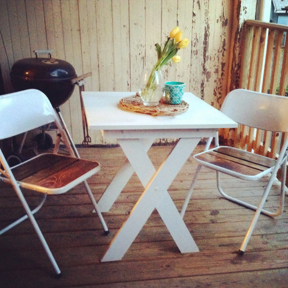 Chair Americana and Table Set - Metal and Barn Wood Style Outdoor or Indoor Table & Chair