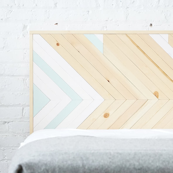 Pine Island Tribal - Rustic Natural Chevron Headboard - Organic - Handmade in Chicago USA